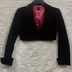 FANG cropped burgundy velvet jacket